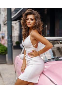 Sukienka White Suede Plait by Provocativ